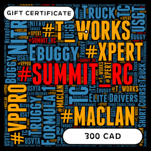 SUMMIT RC RACING E-GIFT CERTIFICATE $300CAD