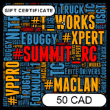 SUMMIT RC RACING $50 CAD E-GIFT CERTIFICATE