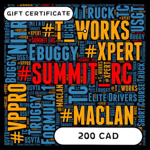SUMMIT RC RACING E-GIFT CERTIFICATE $200 CAD