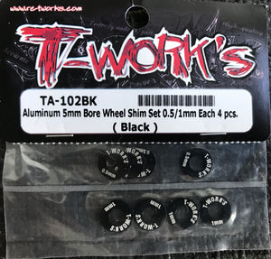 T-WORKS Aluminum 5mm Bore Wheel Shim (0.5mm/1.0mm 4 pcs each)( Black )#TA-102BK
