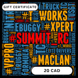 SUMMIT RC RACING $20 CAD E-GIFT CERTIFICATE