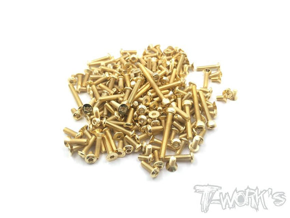T-WORKS Gold Plated Steel Screw Set 138pcs. ( For TEKNO EB48 2.0 ) #GSS-EB482.0