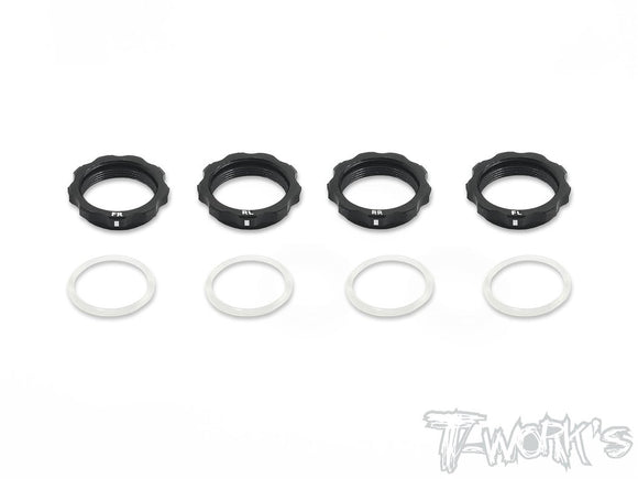 T-WORKS 7075-T6 Alum. Shock Adjustable collards With Mark For Yokomo BD7/BD8 , XRAY T4 (4pcs.) #TE-161