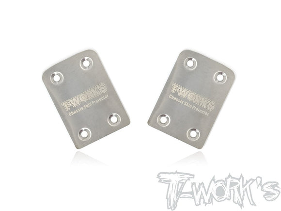 T-WORKS Stainless Steel Rear Chassis Skid Plates ( Tekno EB410/ET410/EB410.2 ) 2pcs. #TO-220-410