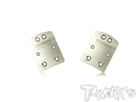 T-WORKS Stainless Steel Rear Chassis Skid Protector ( TEKNO NB48 2.0 ) 2pcs. #TO-220-T2.0