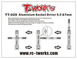 T-WORKS Aluminium Socket Driver 5.5 &7mm #TT-029