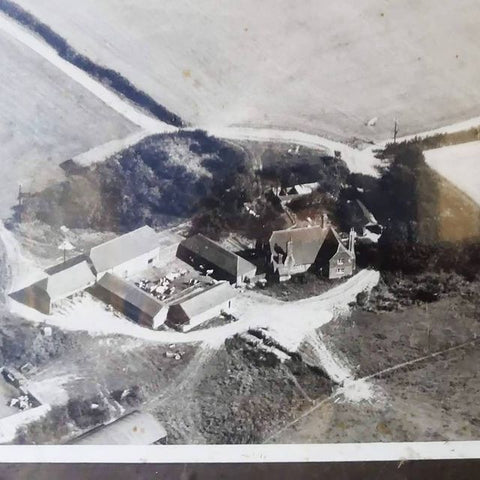 old black and white aerial photo of Townings Farm