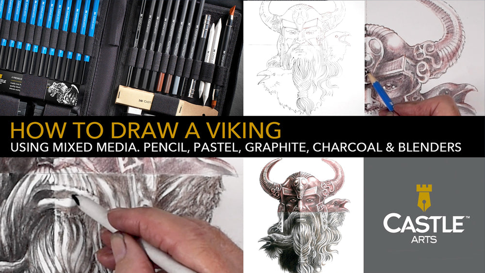 How to Draw a Viking with Mixed Media