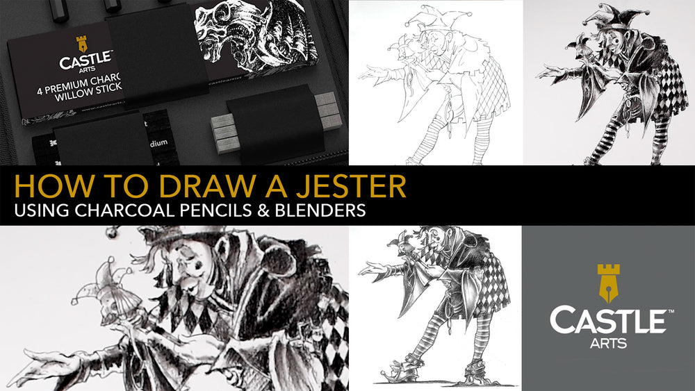 How to Draw a Jester Using Charcoal Pencils & Blenders
