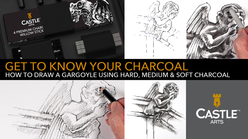How to Draw a Gargoyle Using Soft, Medium & Hard Charcoal Pencils