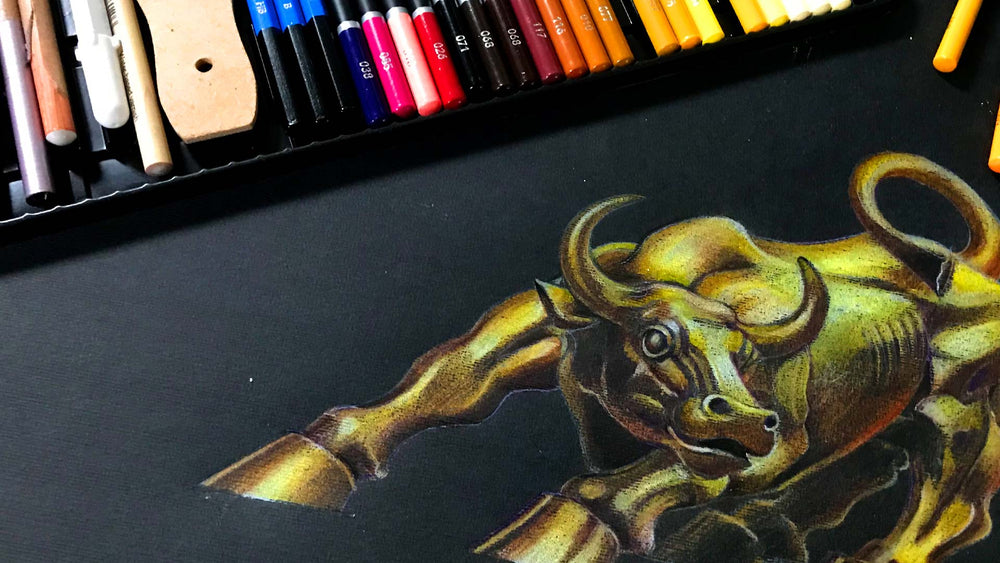 How To Draw & Colour A Chinese New Year 2021 Metal Ox Using Colour Pencils