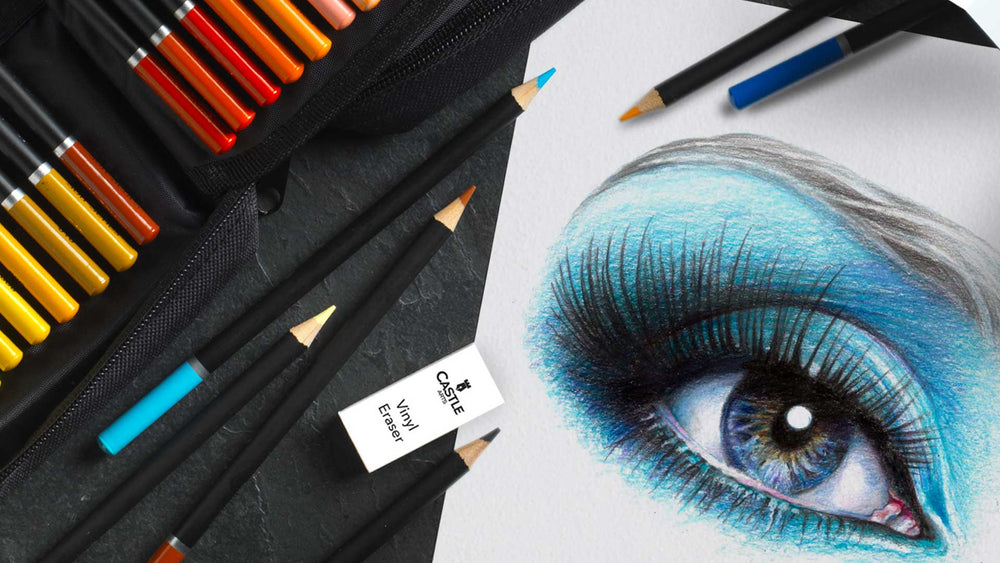 How To Draw & Colour A Blue Eye using Colour Pencils