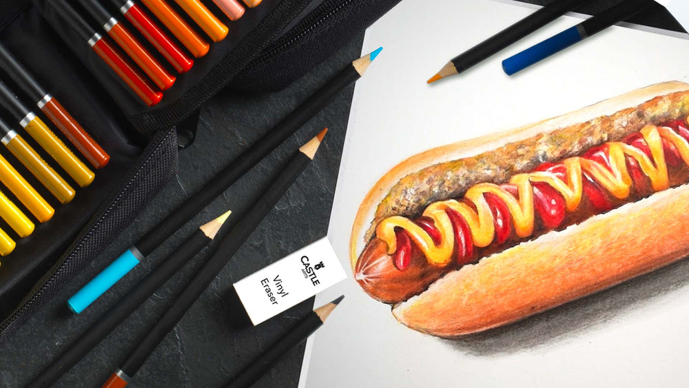 How To Draw & Colour A Hot Dog Using Colour Pencils