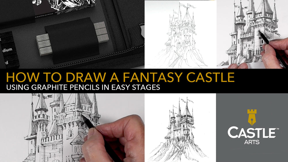 How To Draw A Fantasy Castle Using a Soft Graphite Pencil & Blenders