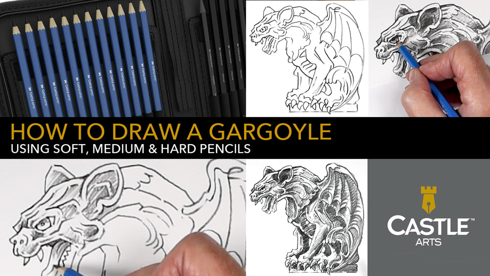 How To Draw A Gargoyle Using Hard, Medium & Soft Graphite Pencils
