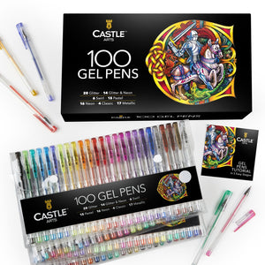 100 Piece Gel Pen Set with Case