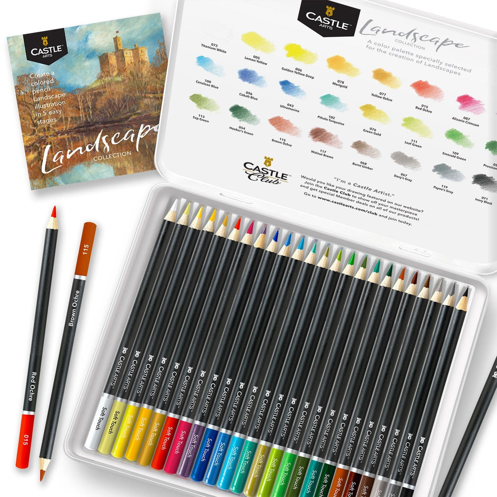 24 Piece Landscape Coloured Pencil Set in Display Tin