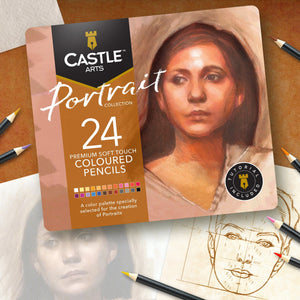 24 Piece Portrait Coloured Pencil Set in Display Tin