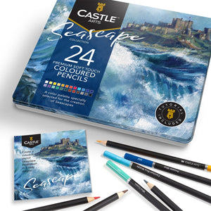 Load image into Gallery viewer, 24 Piece Seascape Coloured Pencil Set in Display Tin