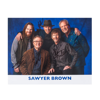 Sawyer Brown Signed 10 x 8 Photo - Blue
