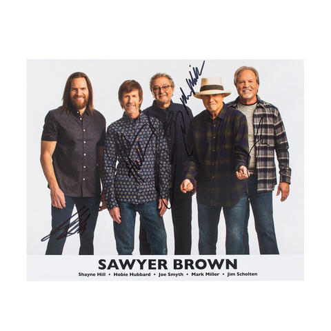 Sawyer Brown Signed 10 x 8 Photo - White