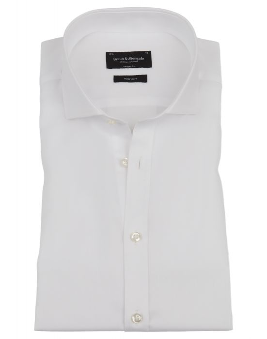 Solid Modern Fit Long Sleeve Shirt- White