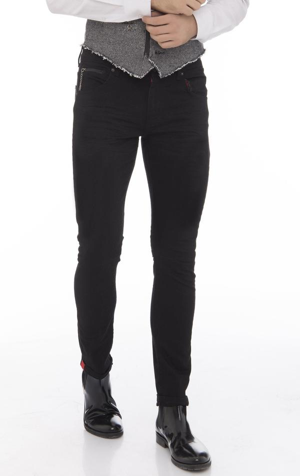 Reflective Detail Slim Fit Stretch Denim - Black