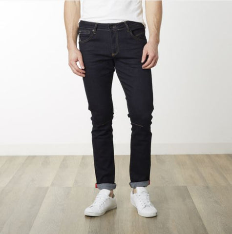 Reflective Detail Slim Fit Stretch Denim - Dark Blue