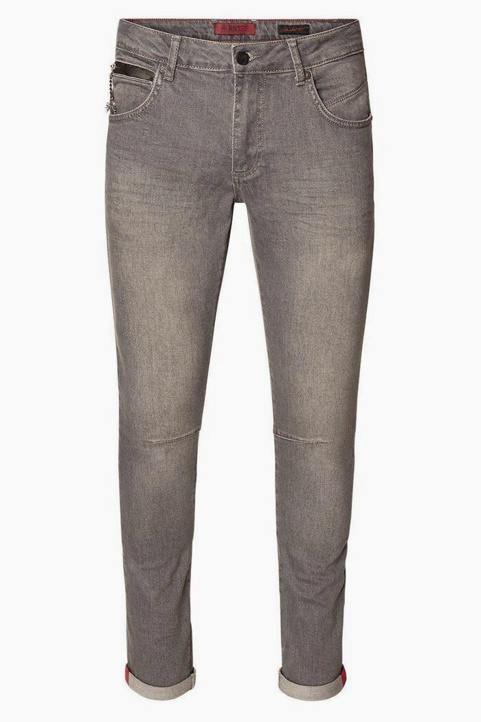 Reflective Detail Slim Fit Stretch Denim - Grey