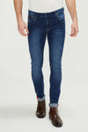 Reflective Detail Slim Fit Stretch Denim - Navy