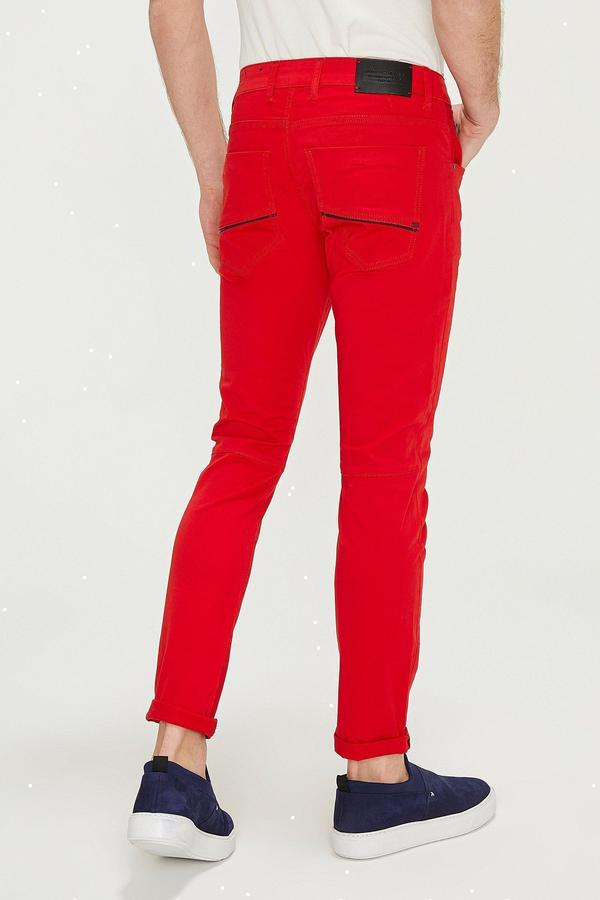 Reflective Detail Slim Fit Stretch Denim- Red