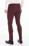 Reflective Detail Slim Fit Stretch Denim - Wine