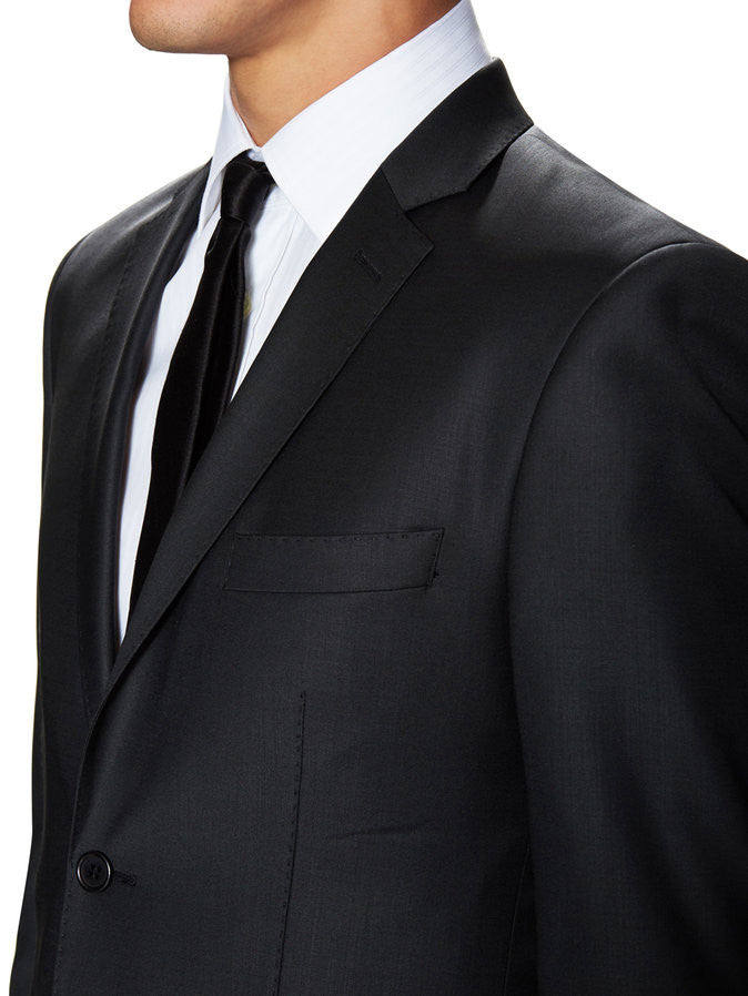 Merino Wool 2 Piece Suit - Black