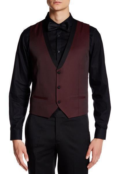 Contrast Shawl 3-Peice Textured Tuxedo - Burgundy