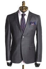Merino Wool 2 Piece Windowpane Suit - Grey