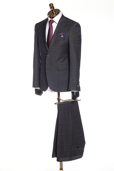 Merino Wool Check Suit - Black