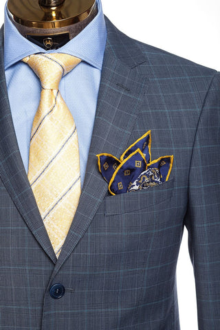 Merino Wool Check Suit - Blue