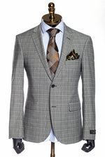 Merino Wool Check Suit - Beige