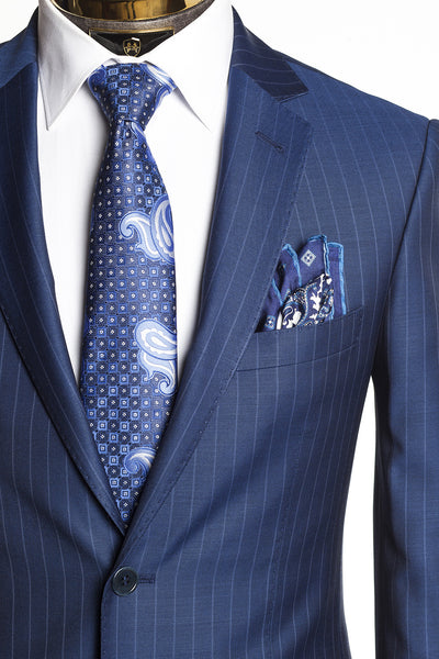 Merino Wool 2 Piece Suit - Blue