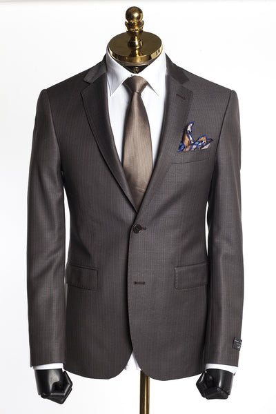 Merino Wool Tonal 2 Piece Suit - Brown