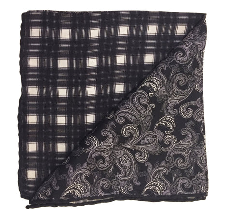 Double-Sided Silk Pocket Square- Black