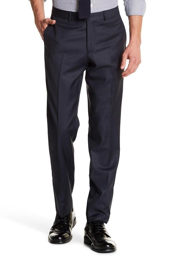 Merino Wool Tapered Dress Pants- Navy 2