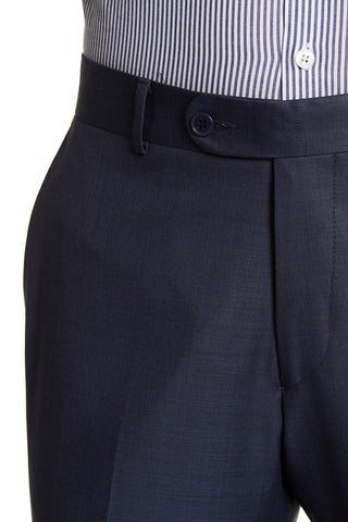 Merino Wool Tapered Dress Pants- Navy