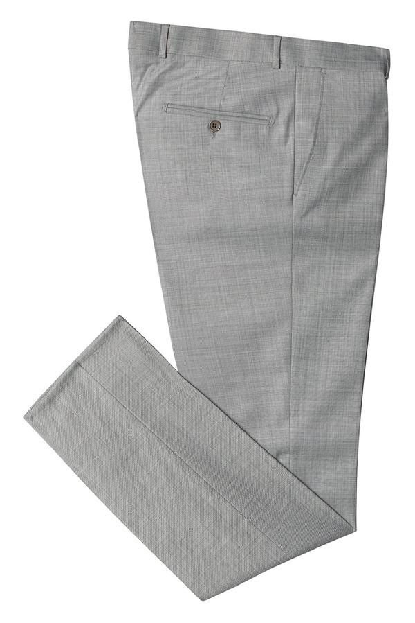 Merino Wool Tapered Dress Pants - Grey