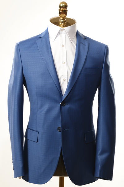 Merino Wool Mini Patterned 2-Piece Suit- Blue