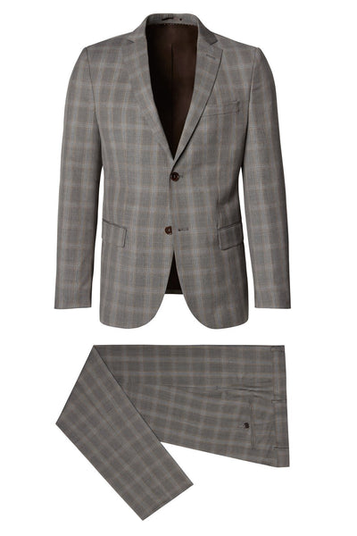 Merino Wool Checkered Suit - Grey/Beige