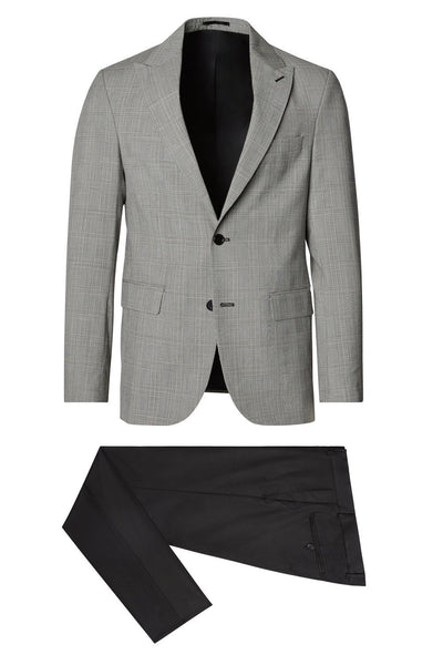 Prince of Wales Check 3-Piece Peak Suit- Grey/Black