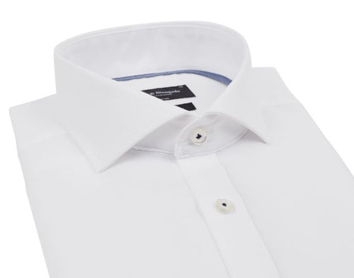 Modern Fit | Solid Woven Long Sleeve Shirt- White