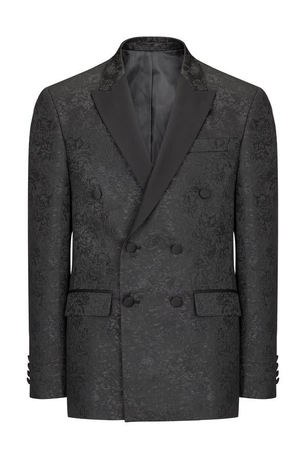 Floral Double-Breasted Peak Tuxedo- Black