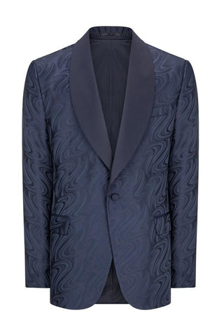 Abstract Shawl Lapel Tuxedo- Navy